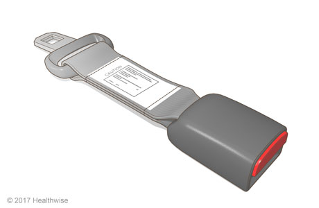 Seat belt extender with latch on one side, small belt in the middle, and buckle with release button on the other side