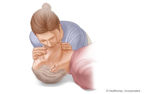 CPR on adult, showing rescue breathing