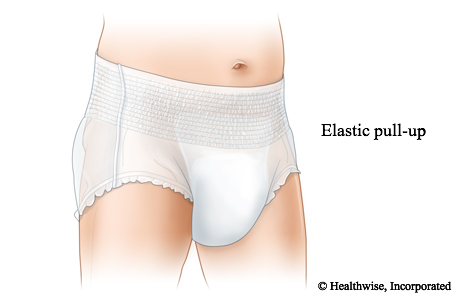 Pull-up adult underwear with a wide elastic band