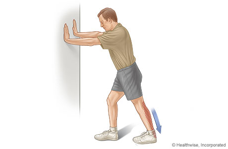 Calf stretch (standing with hands on wall)