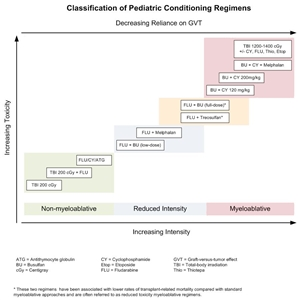 Chart showing selected preparative regimens frequently used in pediatric HCT categorized by current definitions as non-myeloablative, reduced-intensity, or myeloablative.
