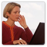 Photo of a woman using a laptop computer