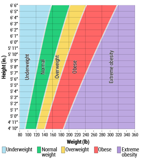Healthy and overweight ranges in adults by height and weight