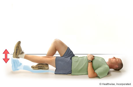 Picture of straight-leg raise exercise for quadriceps (lying on the back)