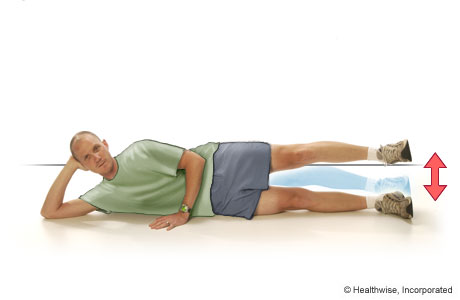 Picture of straight-leg raises to the outside (lying on the side)