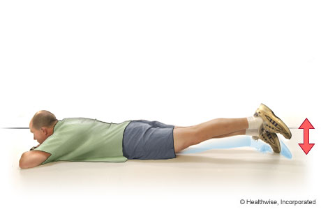 Picture of straight-leg raises to the back (lying on the belly)