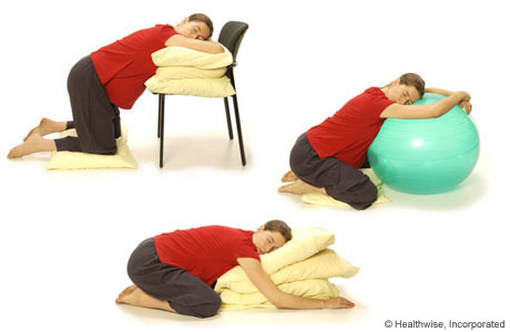 Pictures of a woman kneeling and leaning on pillows or on a birth ball