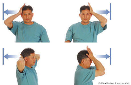 Isometric exercises: Hands on head