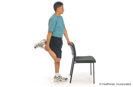 Picture of standing quadriceps stretch exercise