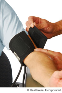 Picture of a blood pressure cuff that is too small