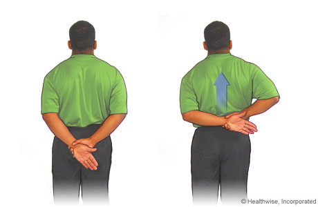 Picture of the up-the-back shoulder stretch