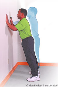 Picture of scapular exercise (wall push-ups)