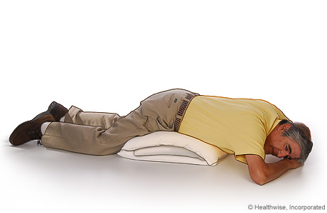 Picture of the position to lie in to drain mucus from the back of your lungs