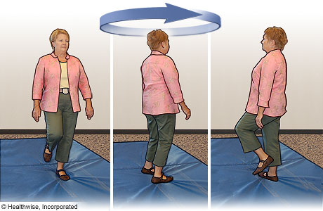 Turning-in-place exercise to improve balance
