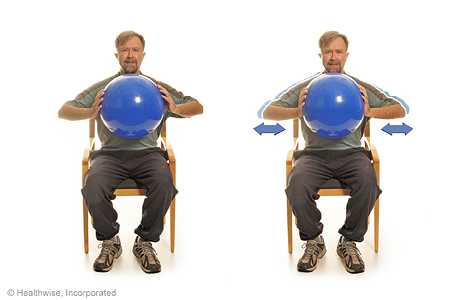 Picture of chest squeeze with a ball