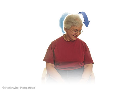 Picture of diagonal chin to chest stretch