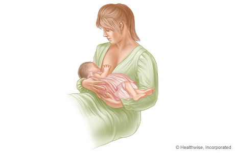 Picture of the traditional cradle hold for breast-feeding